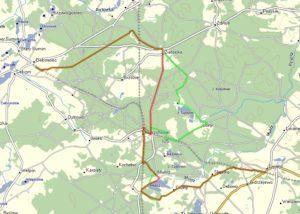 Mapa zmienionego szlaku (na zielono nowy odcinek)