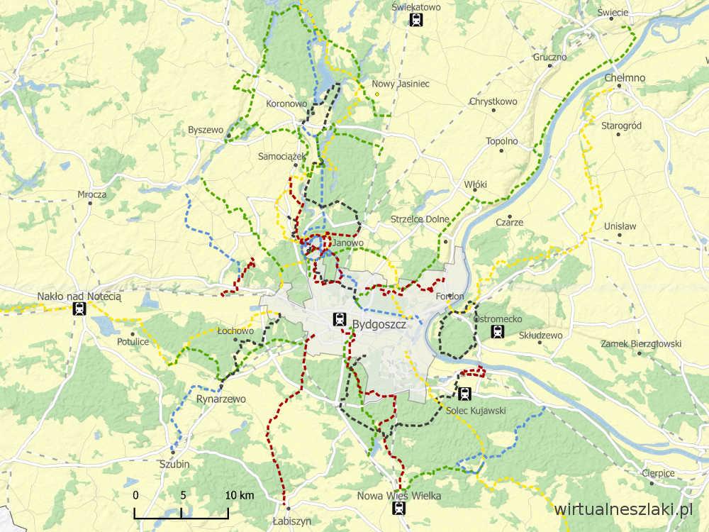 Mapa szlaków pieszych w okolicy Bydgoszczy