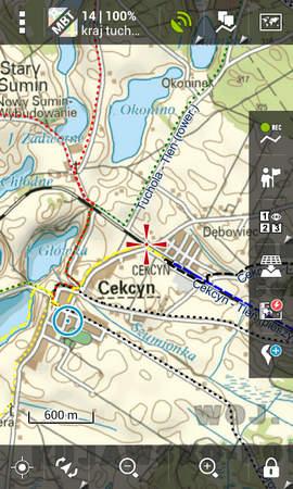 Mapa Borów Tucholskich na Androidzie