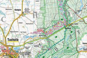 Fragment Mapy Borów Tucholskich firmy Compass