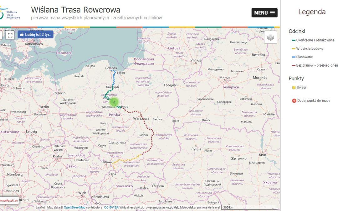 Mapa Wiślanej Trasy Rowerowej