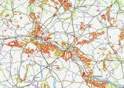 Mapa dróg leśnych przeciwpożarowych i utwardzonych