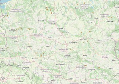 Mapa obszarów pilotażowych bushcraft-survival Lasów Państwowych